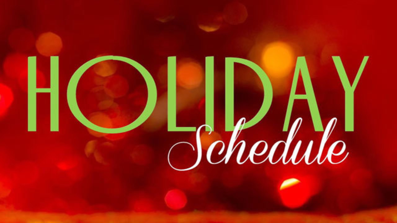 Holiday schedules for trash collection, municipal offices