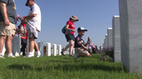 Fort Sam Houston headstones adorned with American flags