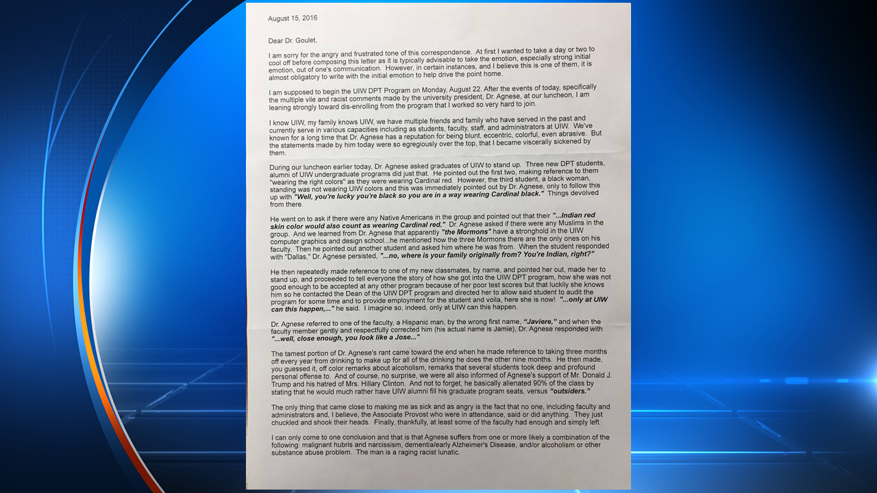 Letter reveals alleged racial comments made by UIW president