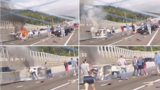 WATCH: Dramatic dashcam shows woman rescued from burning car after&hellip&#x3b;