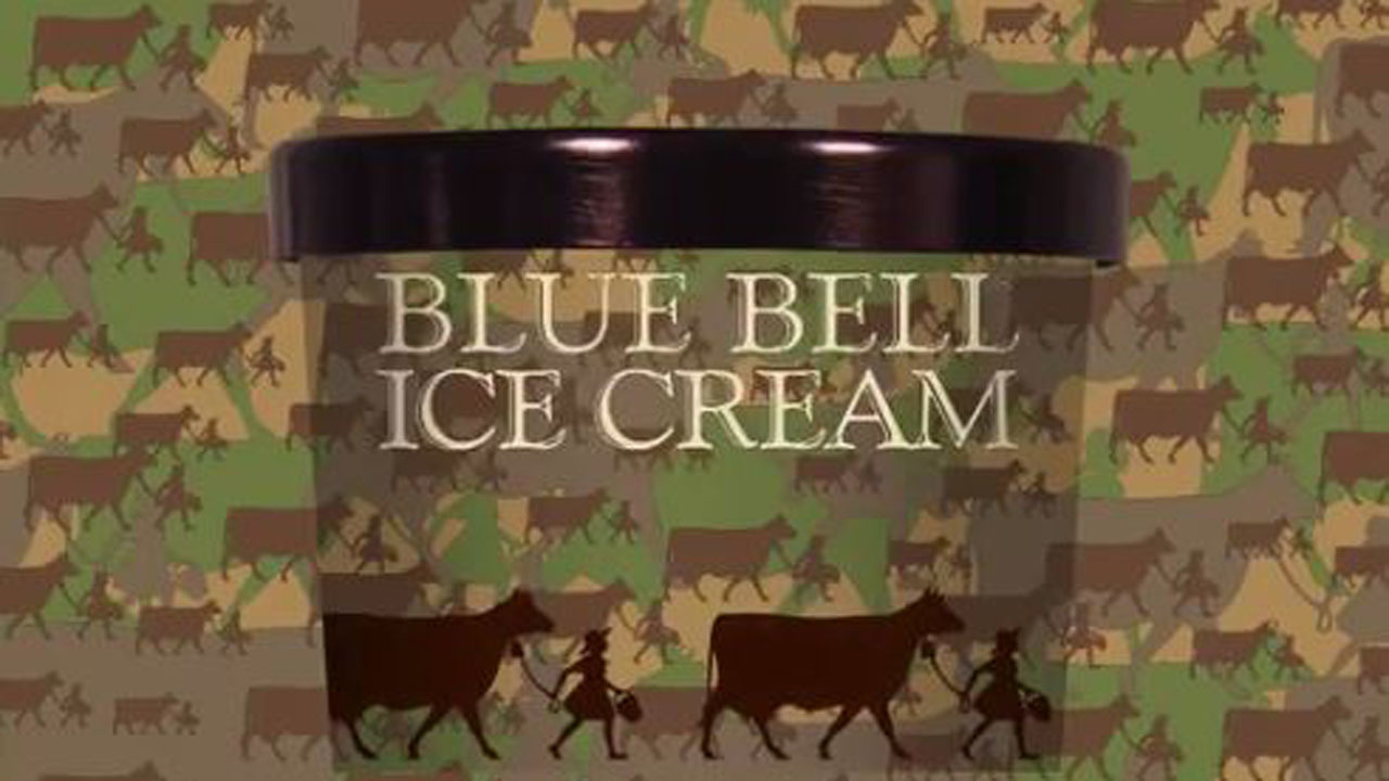 New flavor from blue bell inspired by camouflage for Christmas cookie ice cream blue bell