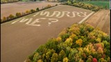 Video: Farmer mows marriage proposal on field