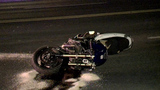 Motorcyclist hospitalized following burn out crash
