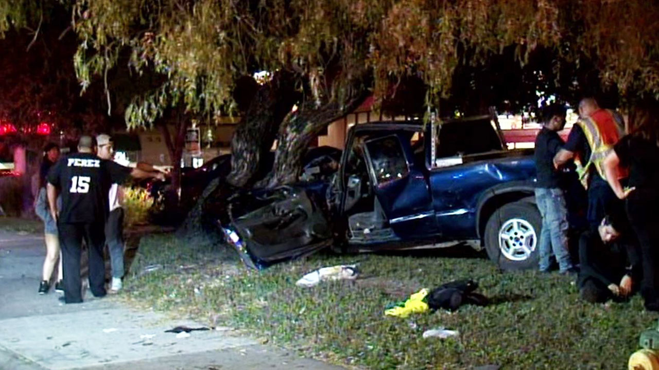 Pick Up Truck Hits Car Crashes Into Tree After Running Red