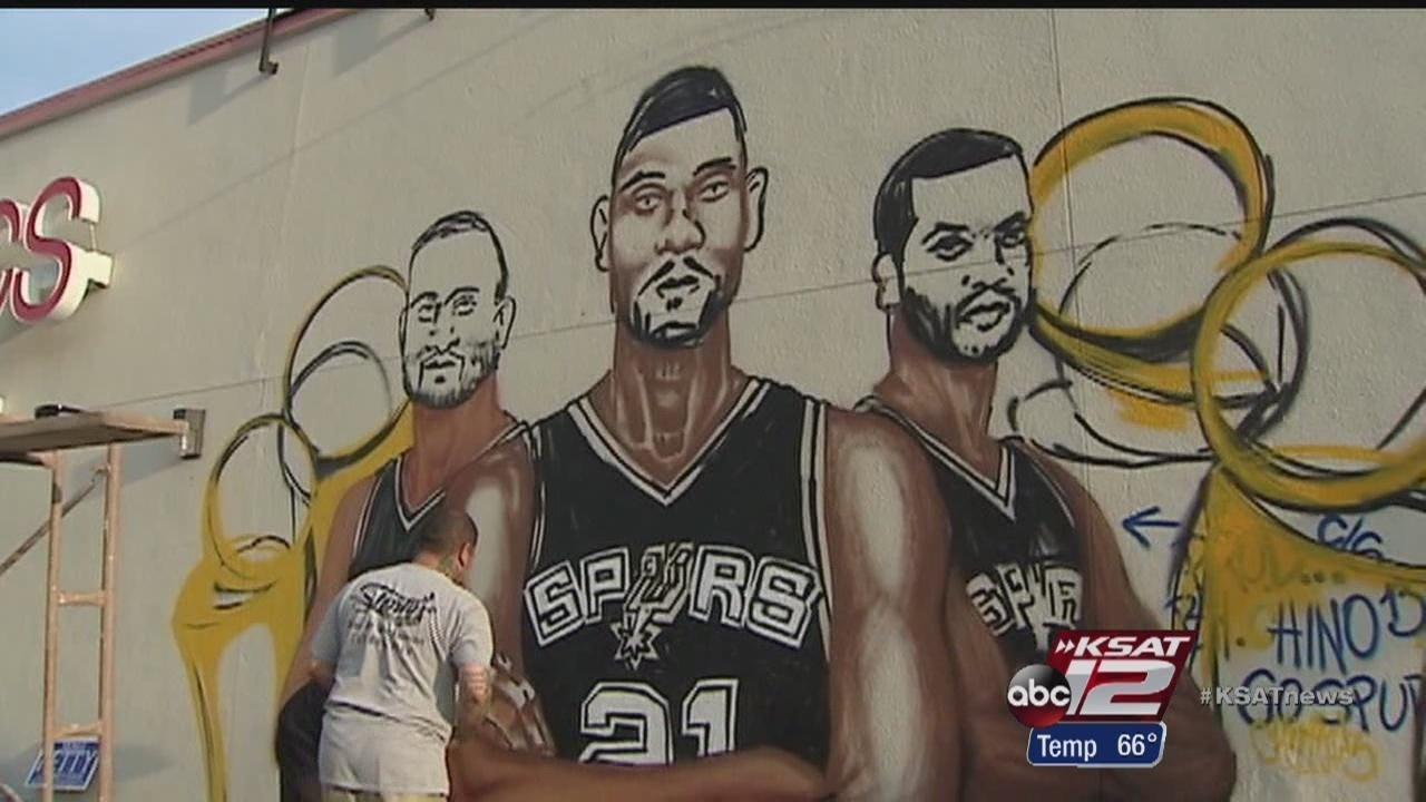 sa artists paint spurs mural