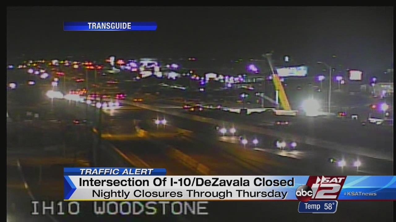 Traffic Alert Nightly Closures At I 10 De Zavala Road