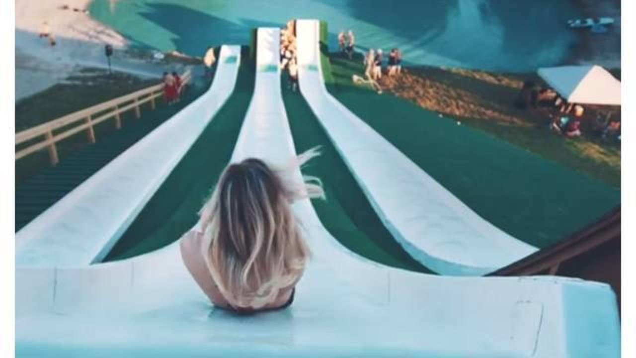 Amazing video shows Texas water slide launch riders into air