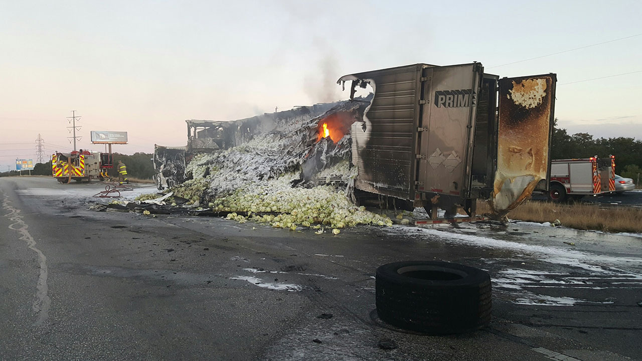 Eastbound 1604 Closed For Hours After 18 Wheeler Catches Fire