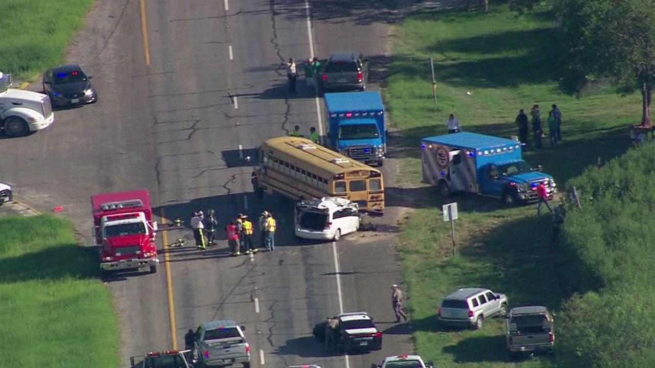 Van Crashes Into Pleasanton Isd School Bus
