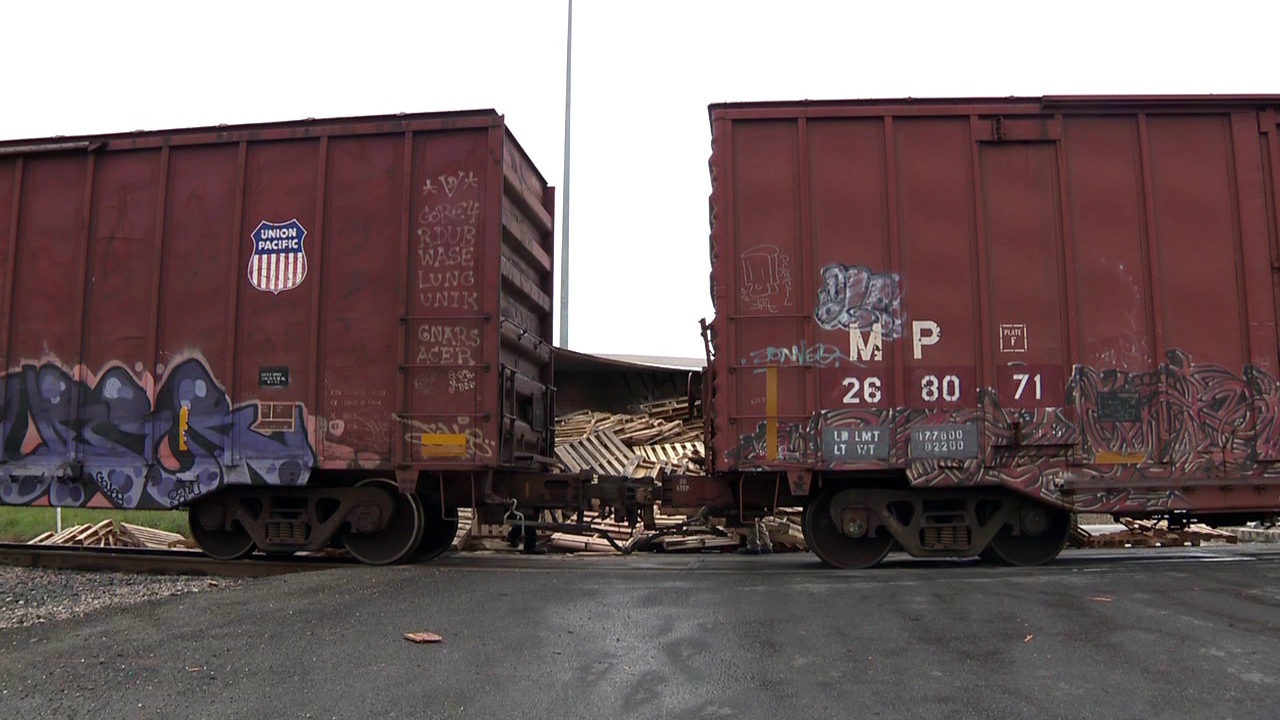 Truck Carrying Pallets Train Collide On Northeast Side