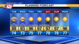 More afternoon showers possible&#x3b; Hot, dry through the weekend