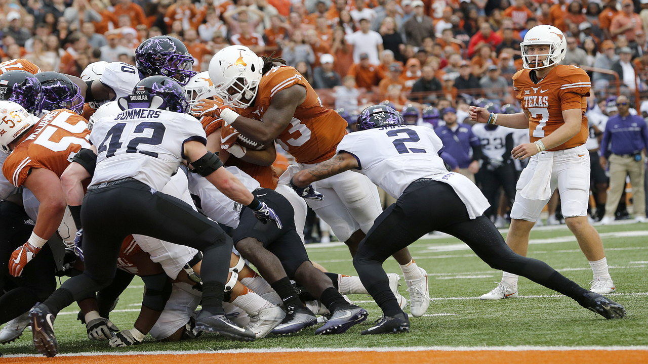 Texas says safety Caden Sterns is out for the game after suffering a knee injury. Sterns was the Big 12 defensive freshman of the year. That's a blow for the Longhorns.