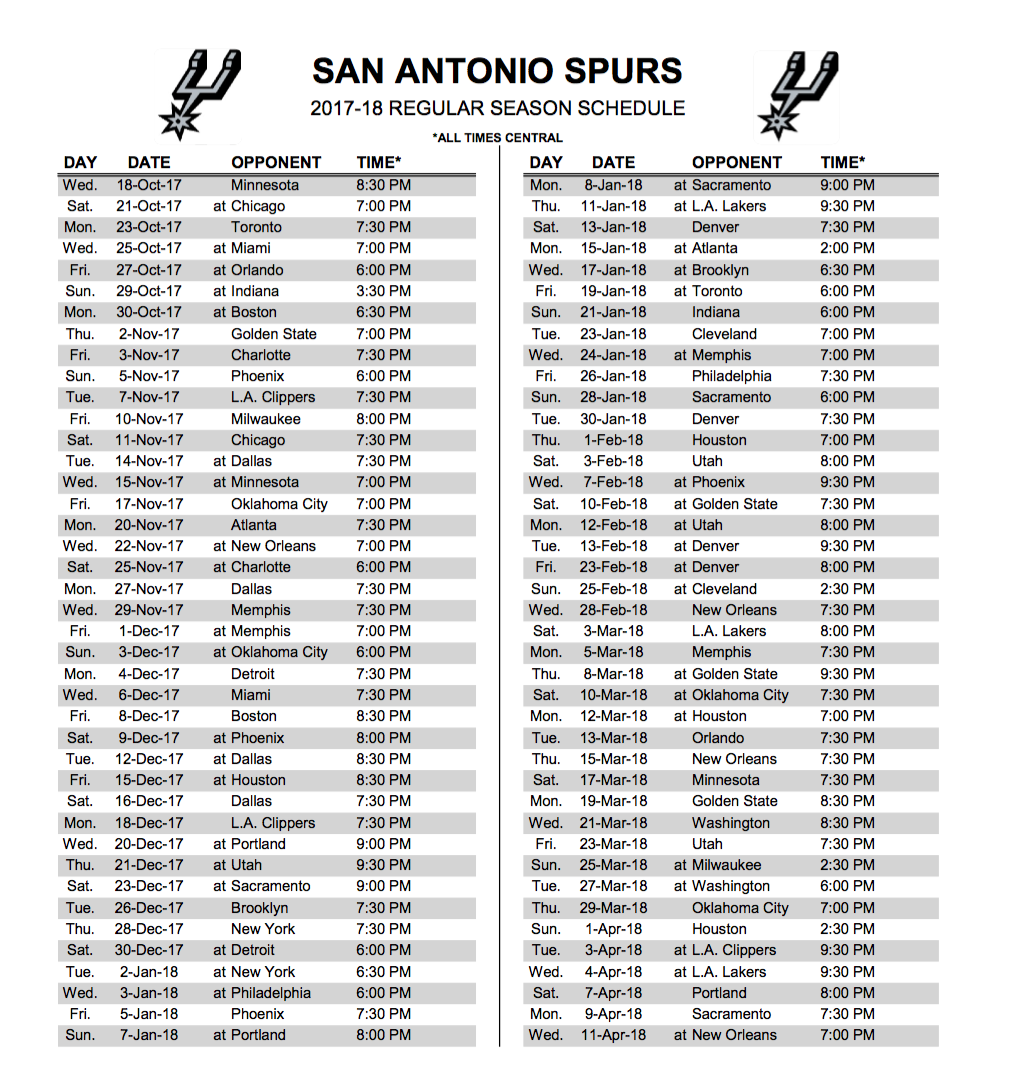 Spurs release regular season schedule, home versus Golden