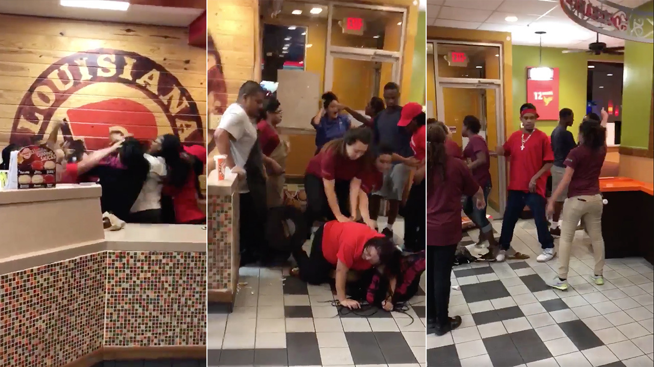 watch popeye u0027s employees customers engage in all out brawl