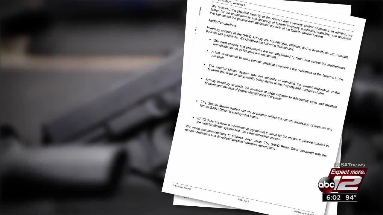 VIDEO: Audit finds 'sloppy housekeeping' at SAPD gun armory