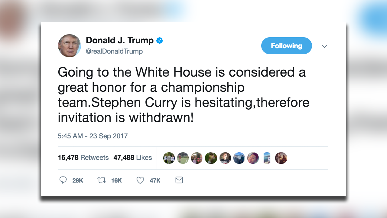President Trump uninvites Warriors' Stephen Curry to White...