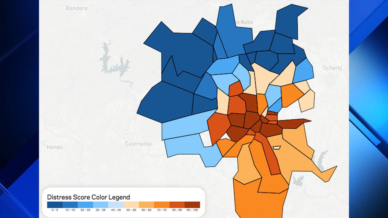 Map Shows Distress Score Of San Antonio Zip Codes