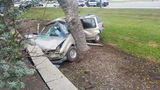 57-year-old man cut out of SUV after crashing into tree