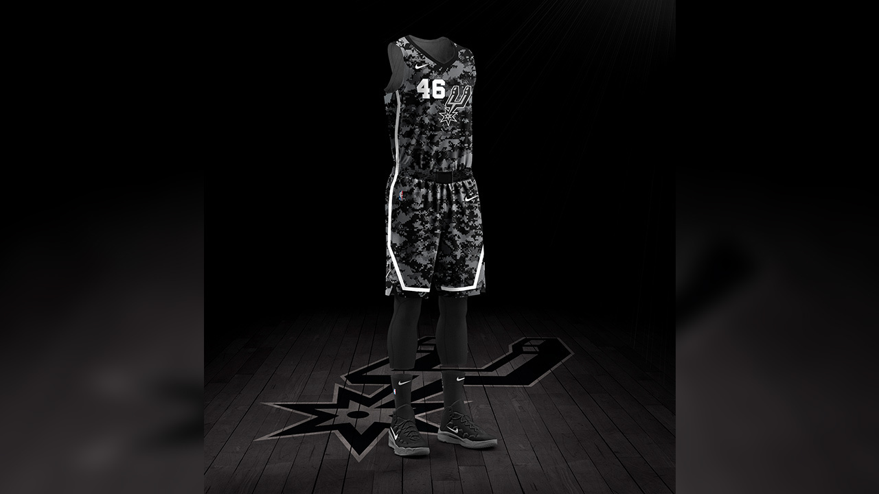 e208db764 Spurs honoring military with new  camouflage-patterned  jerseys