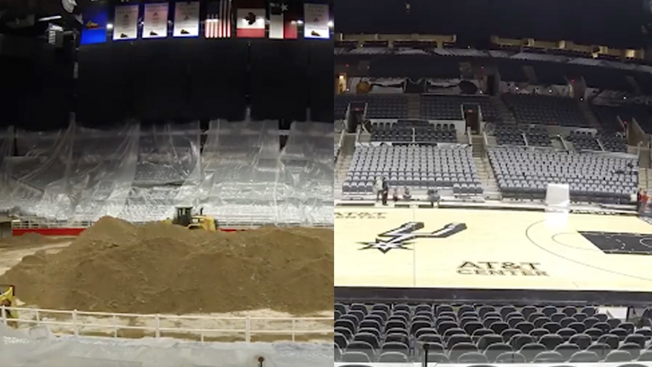 WATCH: AT&T Center transforms from rodeo to Spurs' home court...