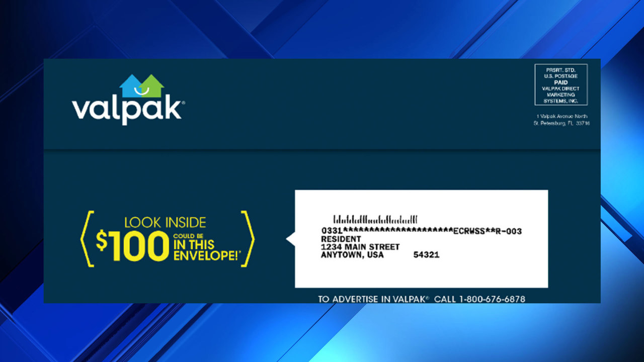 Valpak is randomly mailing out $100 checks with your coupons