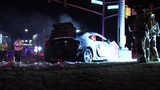 Driver dies after vehicle catches fire, explodes in crash with light pole
