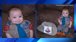 Texas DPS trooper dresses baby in tiny trooper uniform and it's adorable