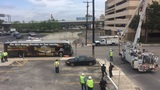 Downed powerlines trap VIA bus downtown