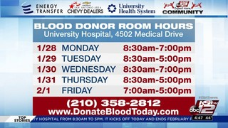 KSAT Community Blood Drive starts today at University Hospital