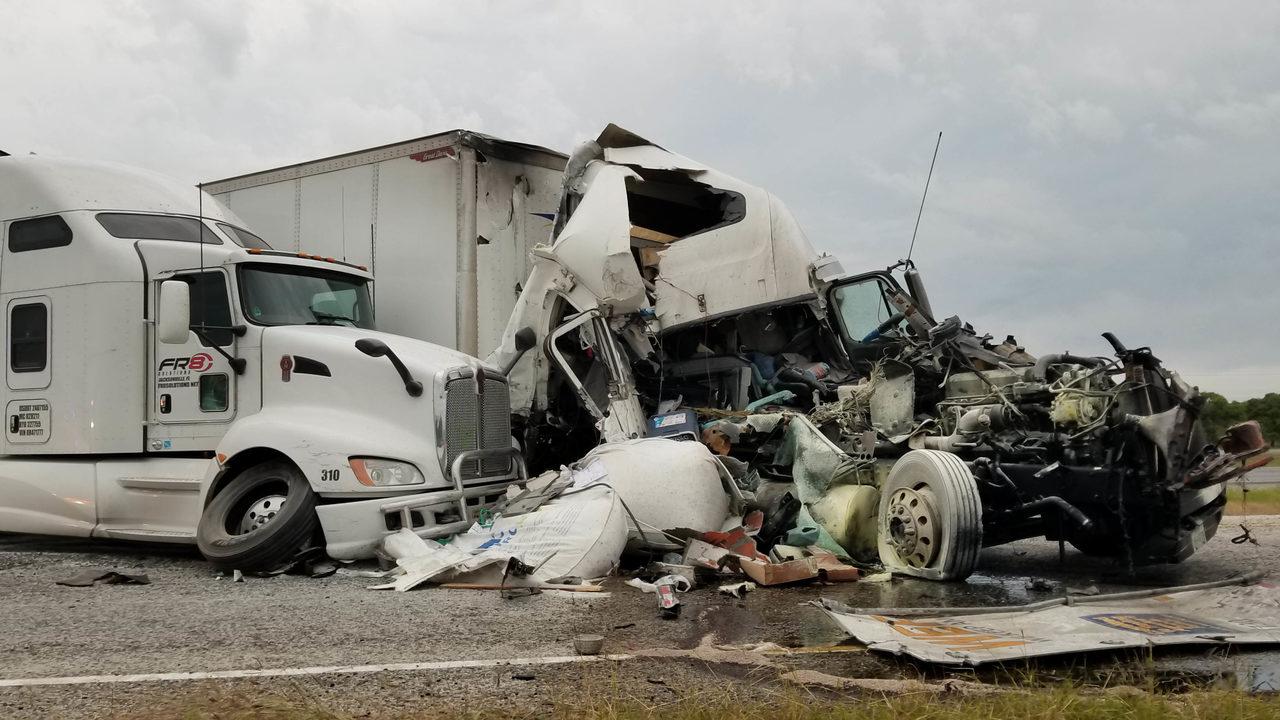 No injuries in fiery crash involving 3 big rigs, DPS says