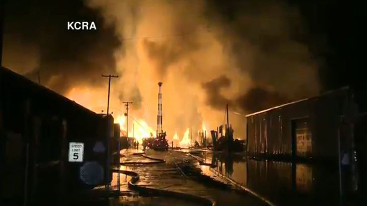 WATCH LIVE: Lumber yard fire in Stockton, California