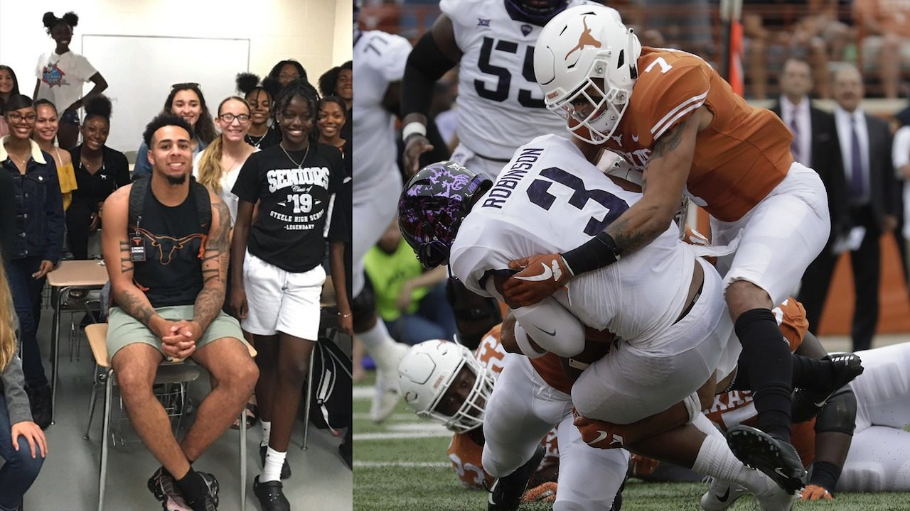 Texas Db Former Steele Standout Caden Sterns Gives Back