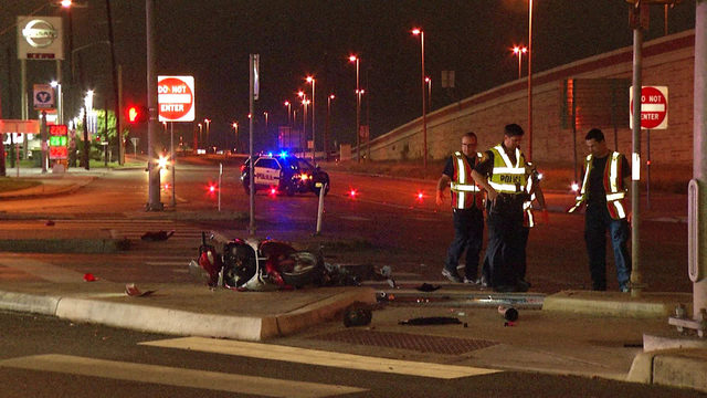 Motorcyclist hospitalized after crash with vehicle on Loop 410 access road