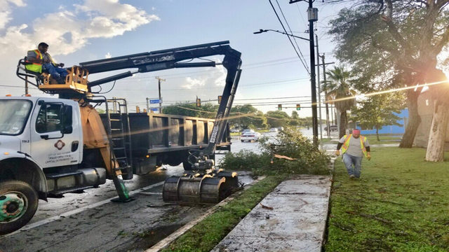 Cleanup underway after storm drops hail, topples trees