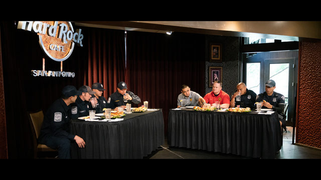 First responders duel in hamburger eating contest