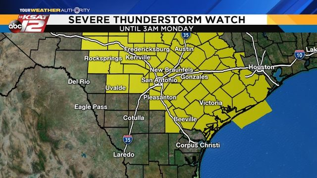 Severe storms possible late Sunday night