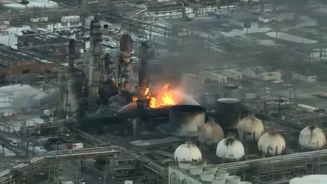 A large fire is burning at a refinery in Philadelphia