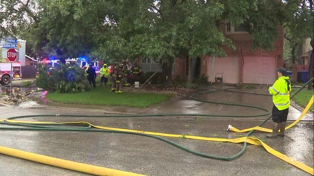 Home catches fire on North Side during stormy weather