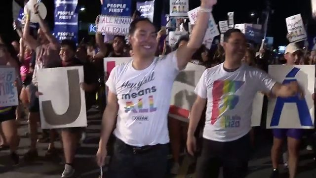 Julian, Joaquin Castro march in Pride Bigger Than Texas Parade