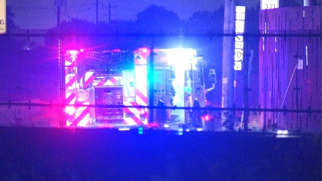 Fire sparks at metal, tire recycling plant