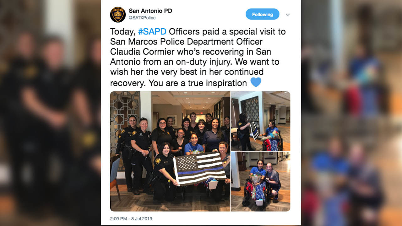 SAPD visits San Marcos officer who lost leg after being