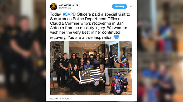 SAPD visits San Marcos officer who lost leg after being struck by…