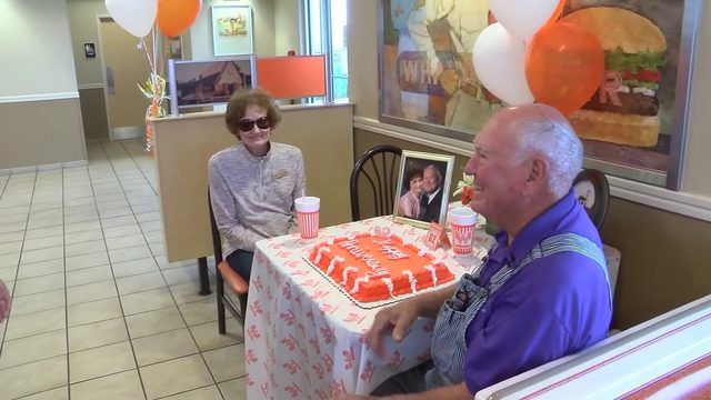 Couple celebrates 62nd anniversary at Whataburger