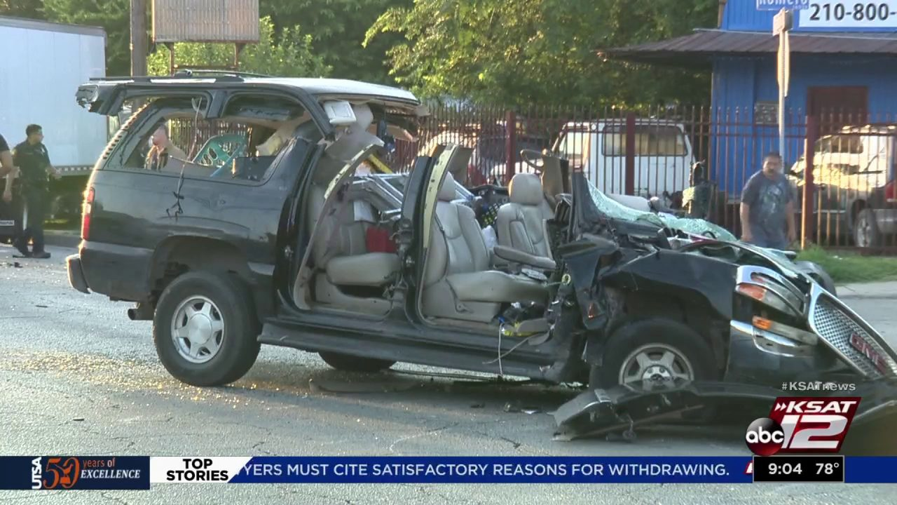 Driver pinned inside SUV during crash with delivery truck