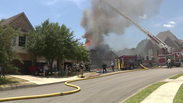 Home for sale goes up in flames near Stone Oak