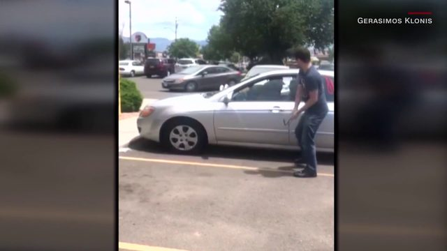 Video shows man break window to rescue dog from hot car