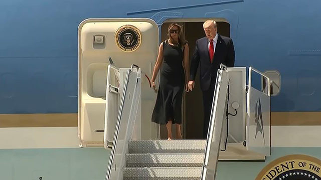 President Trump arrives in El Paso to protests