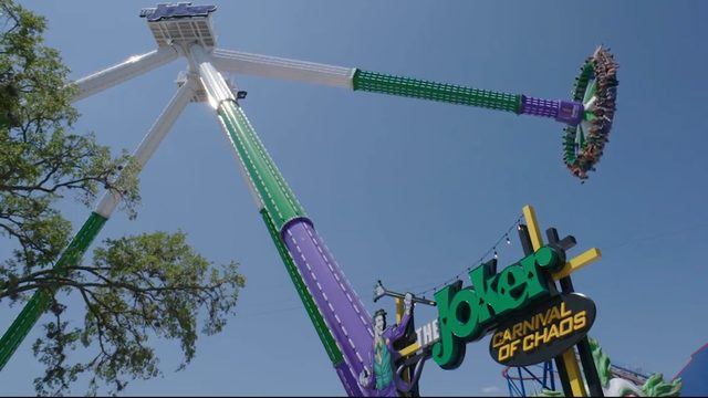 FIRST LOOK: World's tallest pendulum ride, Joker, opens at Six Flags…