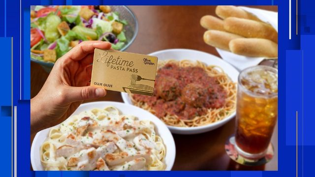 You can buy a lifetime pasta pass at Olive Garden Thursday