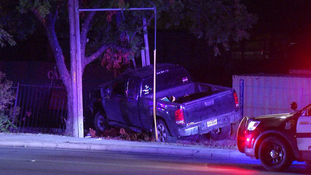 Pickup truck crashes into utility pole, causes power outage in area